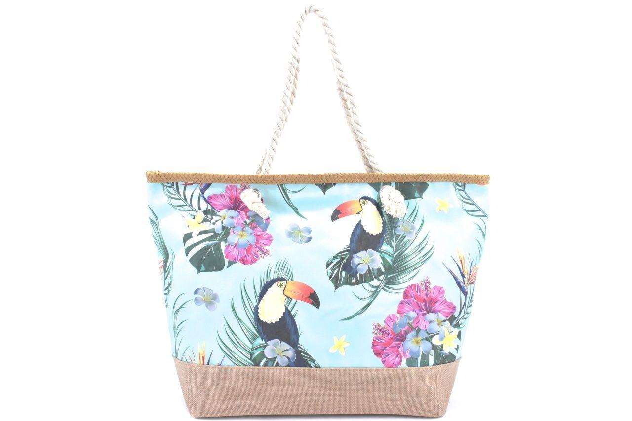Velká plážová taška s potiskem - modrá/papoušek 39972