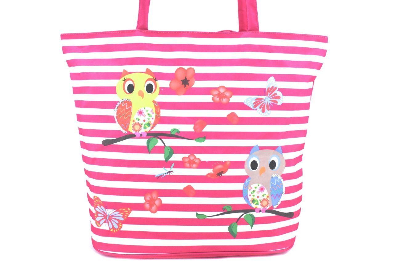 Velká plážová taška s potiskem sova - zelená 39961