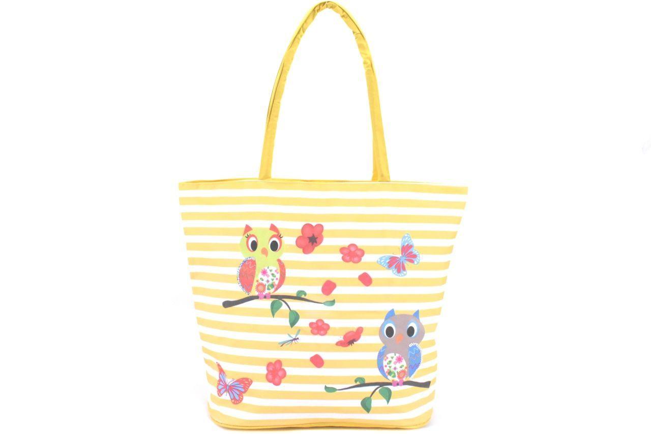 Velká plážová taška s potiskem sova - žlutá 39961