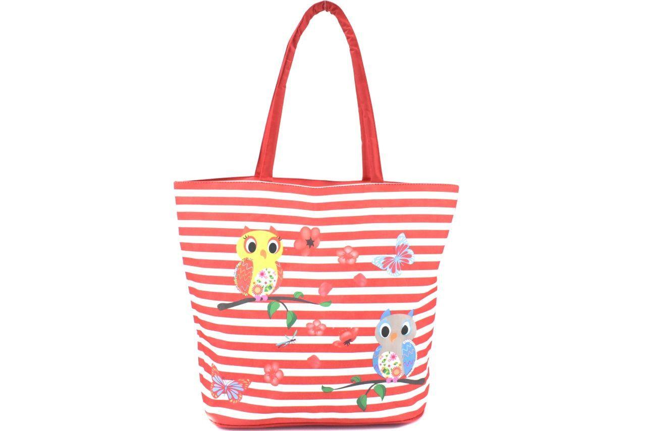 Velká plážová taška s potiskem sova - červená 39961