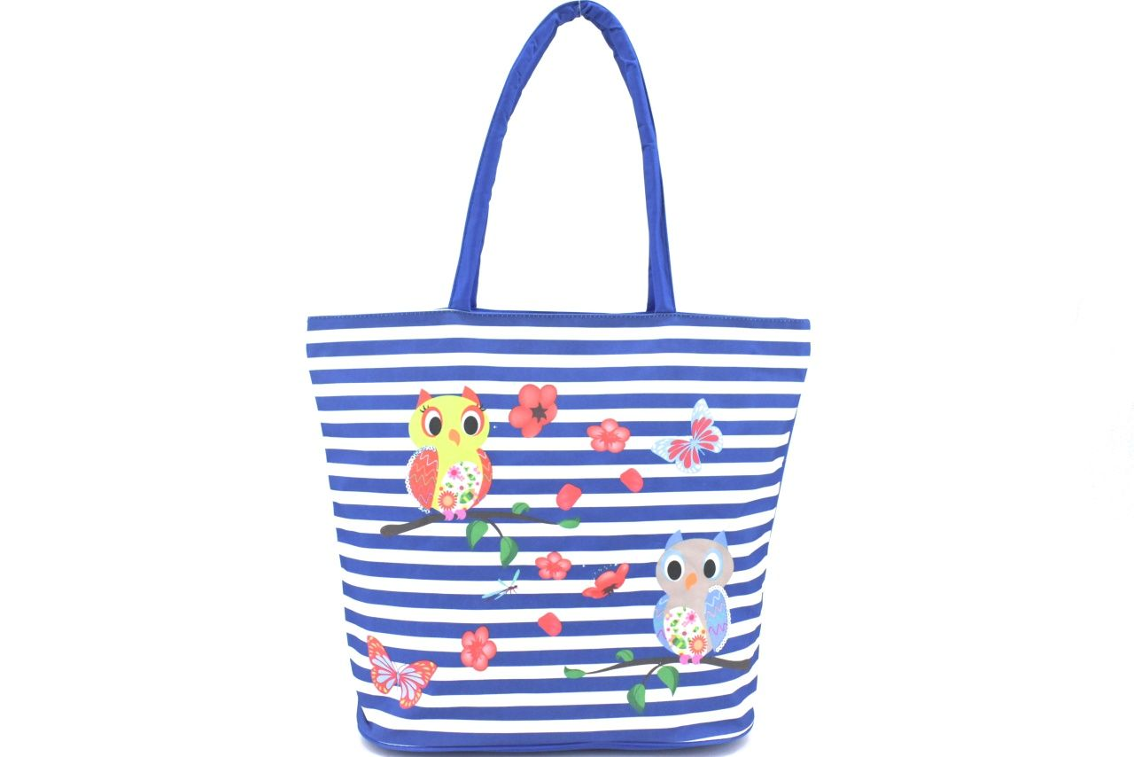 Velká plážová taška s potiskem sova - modrá 39961