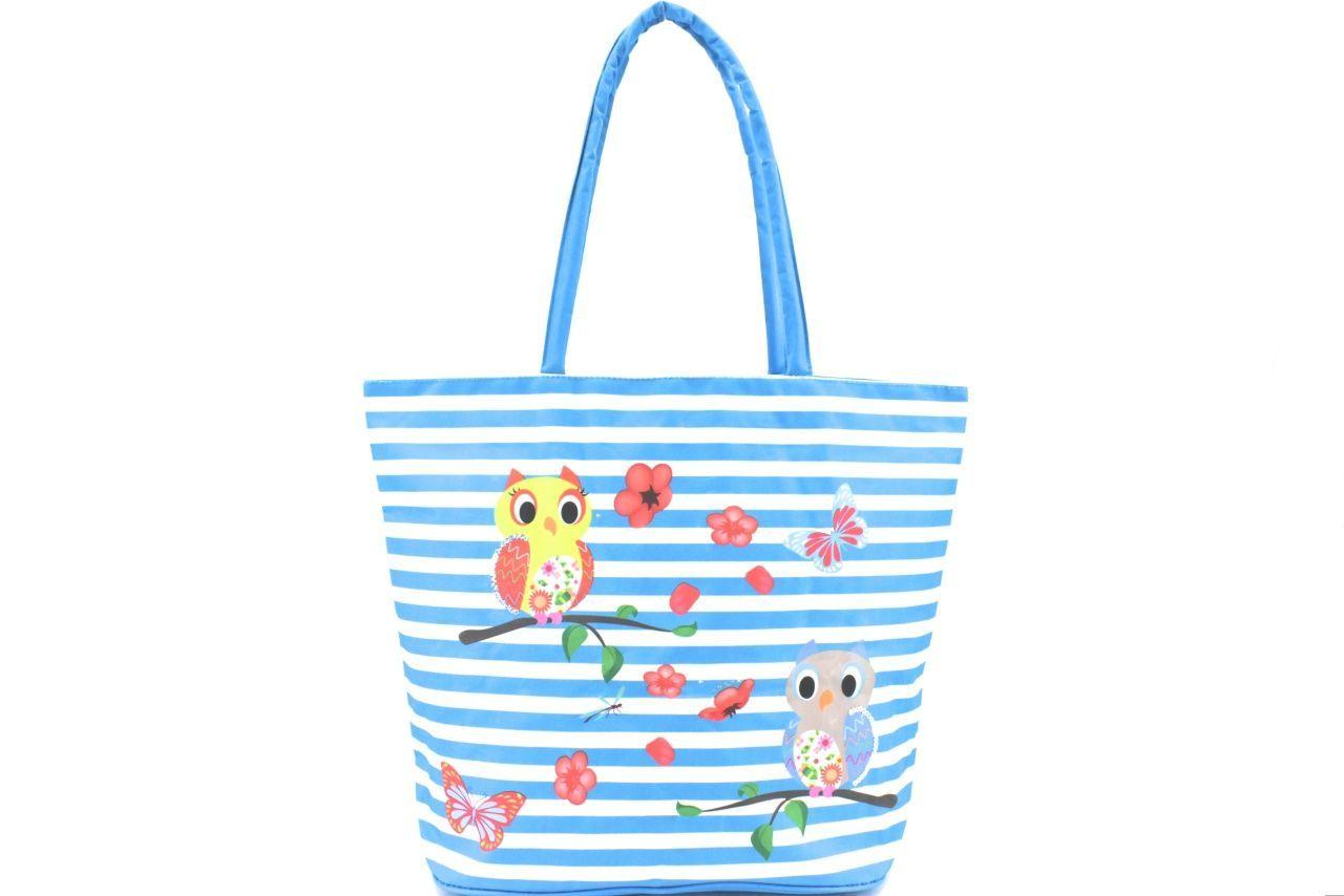 Velká plážová taška s potiskem sova - světle modrá 39961