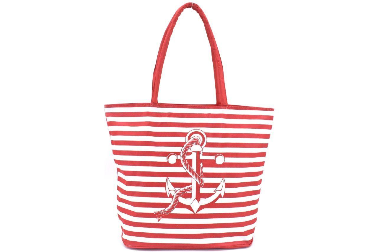 Plážová taška pruhovaná - červená 37200