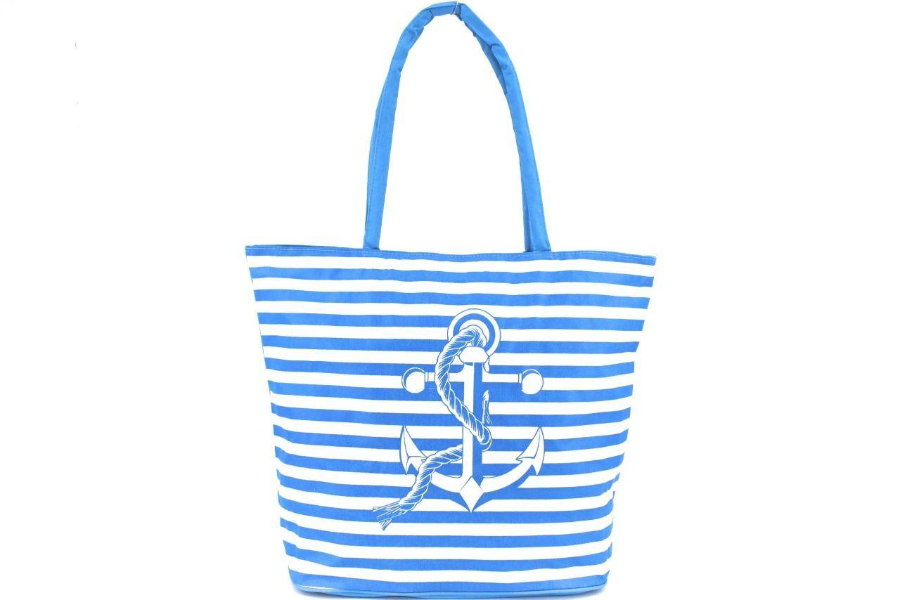 Plážová taška pruhovaná - světle modrá 37200