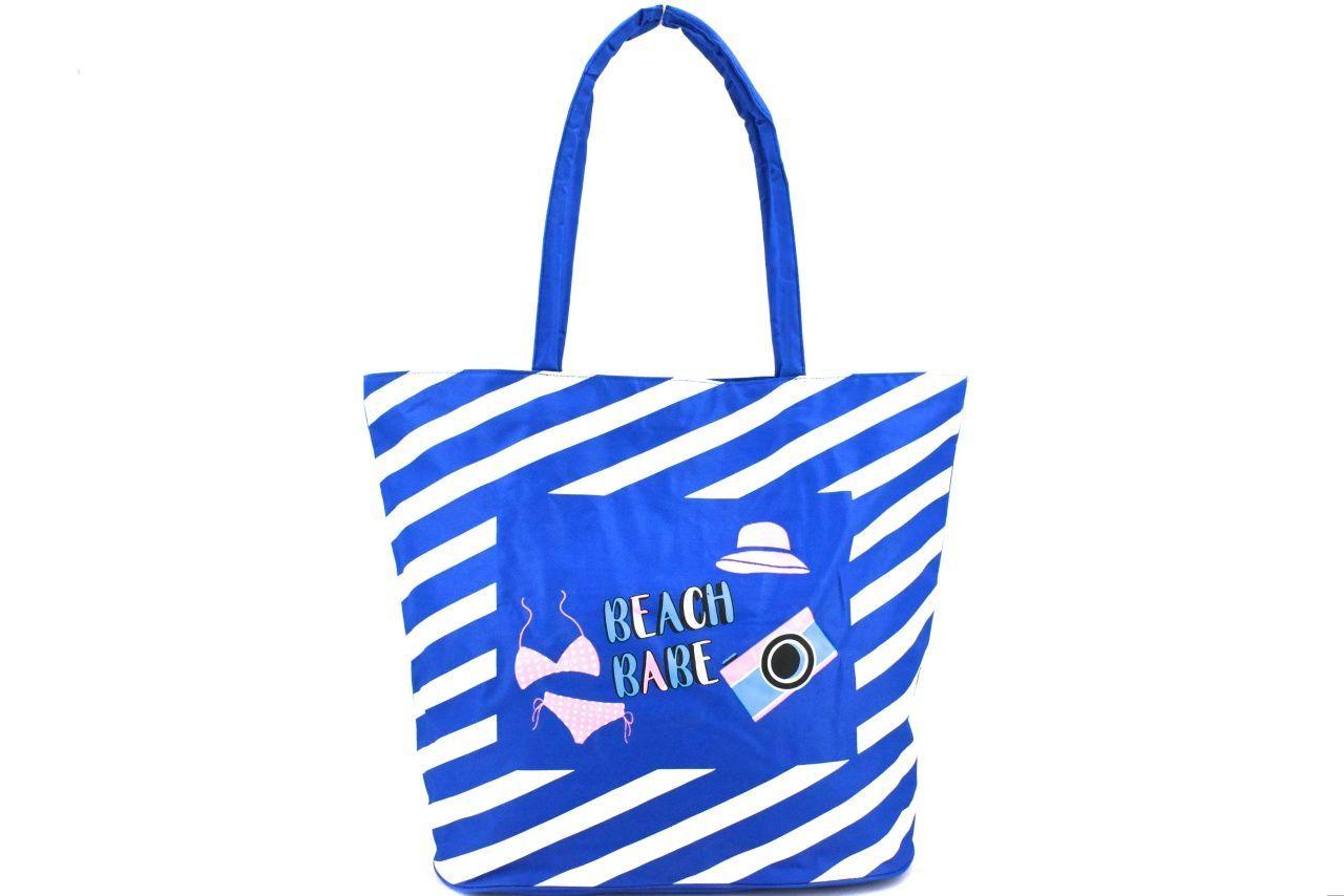 Plážová taška pruhovaná s potiskem - modrá 37201