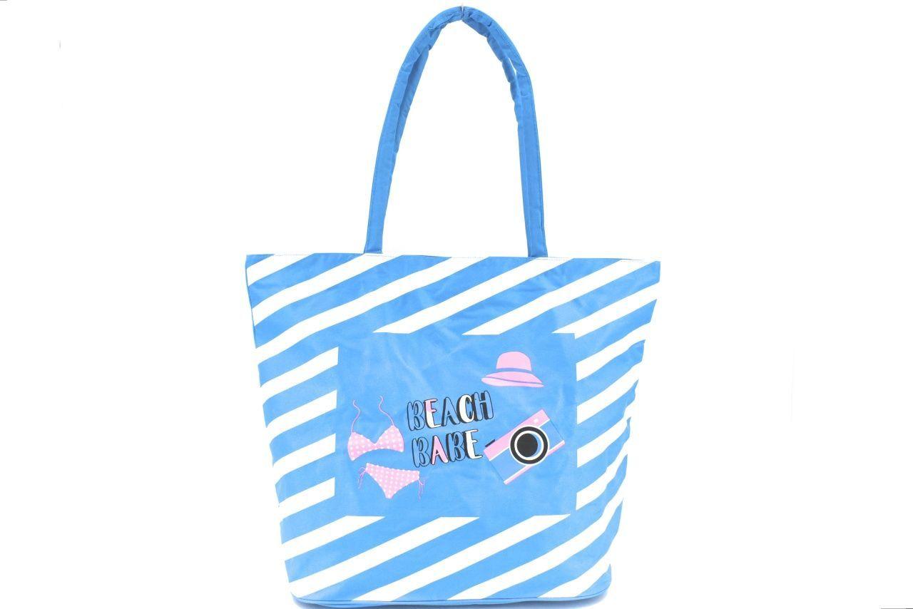 Plážová taška pruhovaná s potiskem - světle modrá 37201