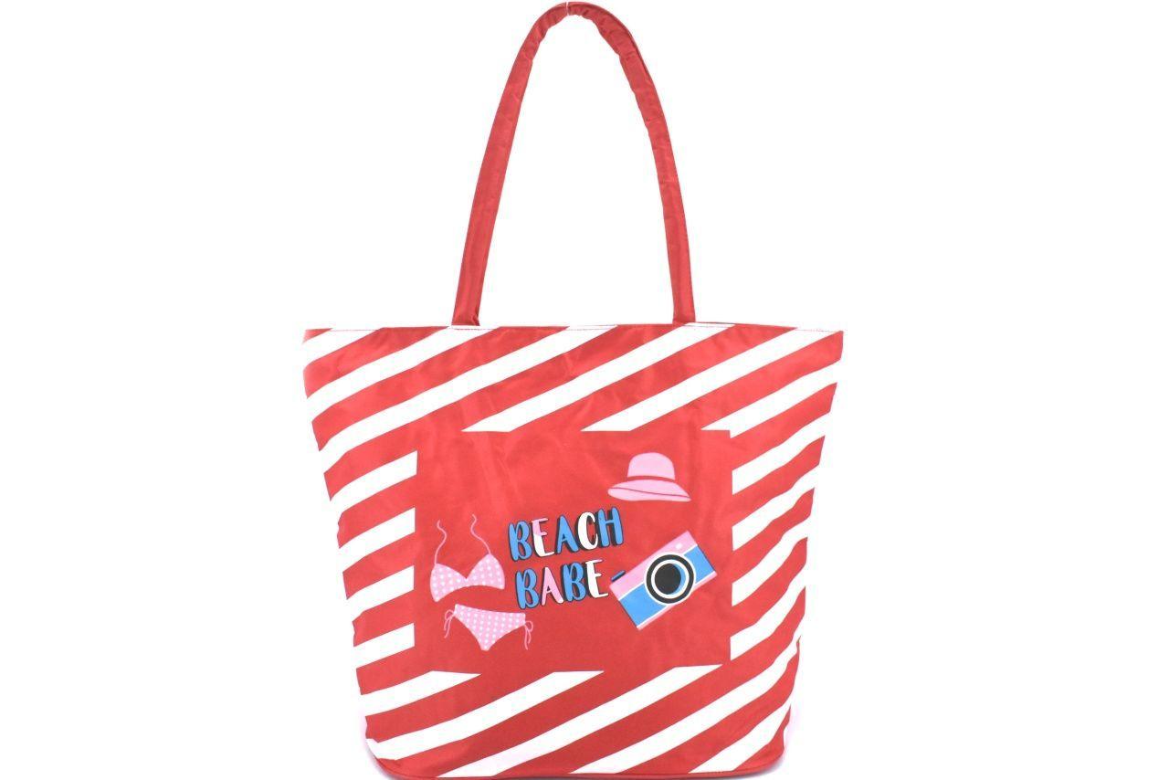 Plážová taška pruhovaná s potiskem - červená 37201
