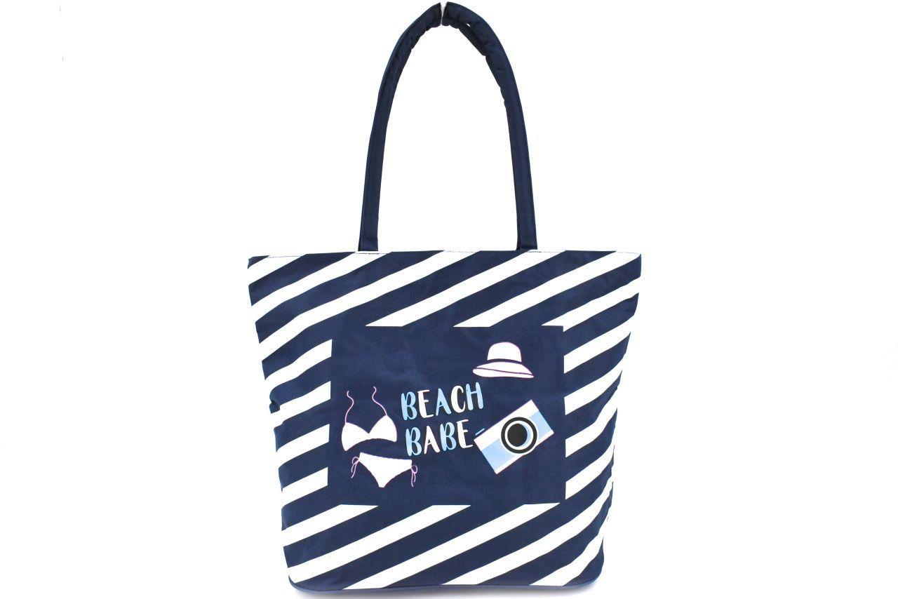 Plážová taška pruhovaná s potiskem - tmavě modrá 37201