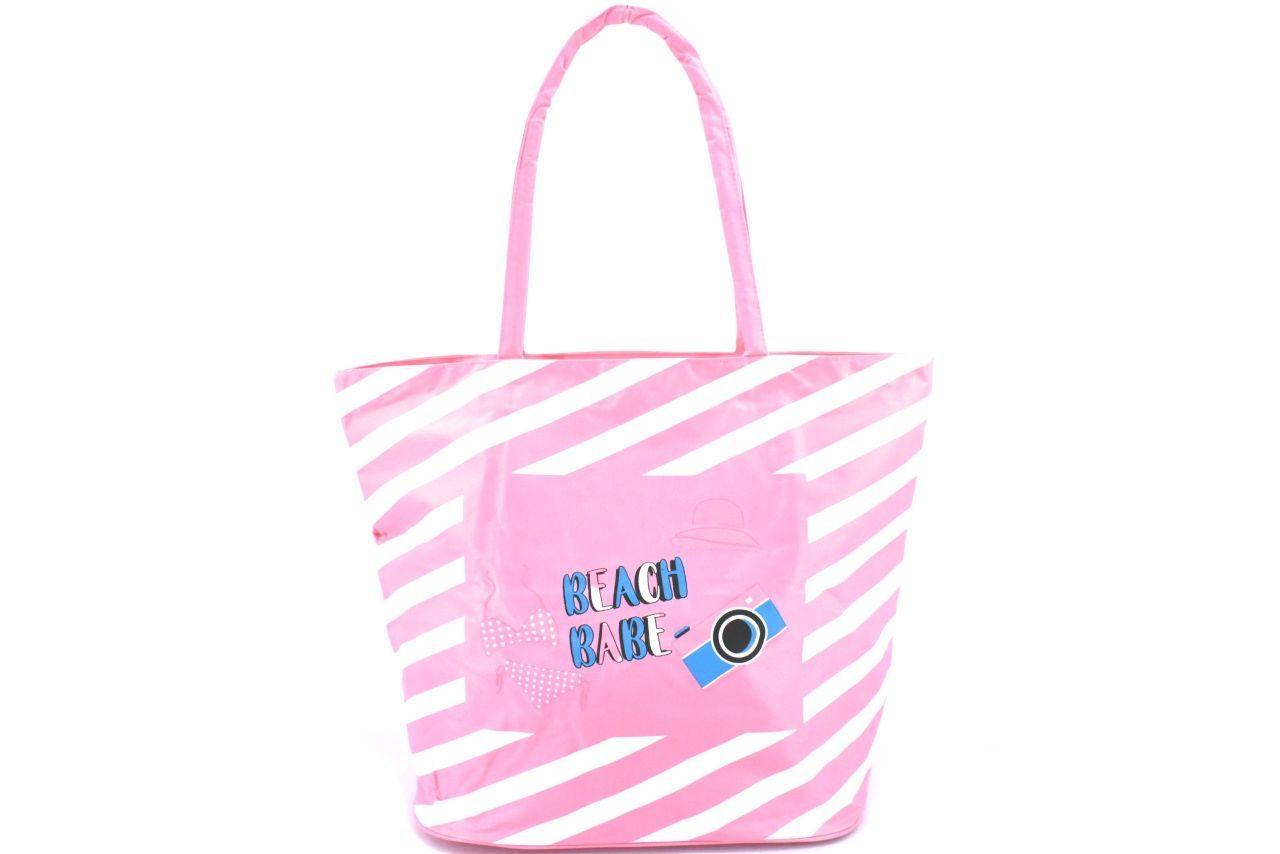 Plážová taška pruhovaná s potiskem - světle růžová 37201