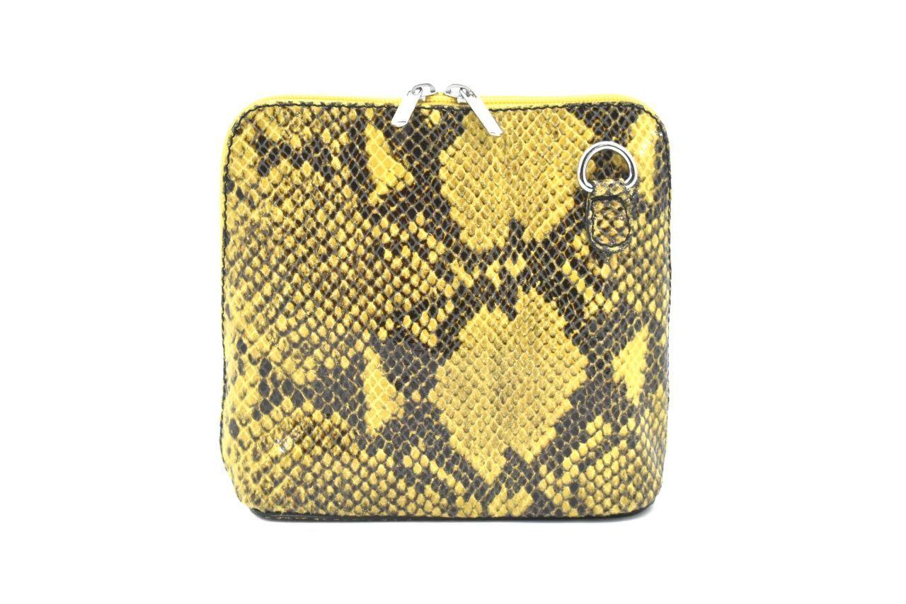 Dámská / dívčí malá kožená kabelka se vzorem hadí kůže Arteddy - hnědá 37205
