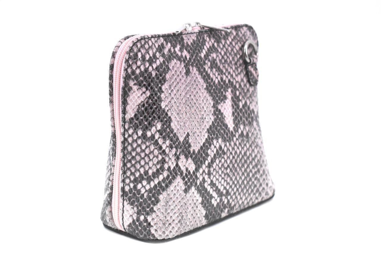 Dámská / dívčí malá kožená kabelka se vzorem hadí kůže Arteddy - růžová/pudrová 37205
