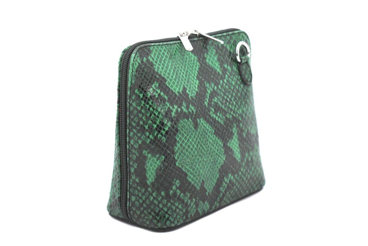 Dámská / dívčí malá kožená kabelka se vzorem hadí kůže Arteddy - zelená 37205