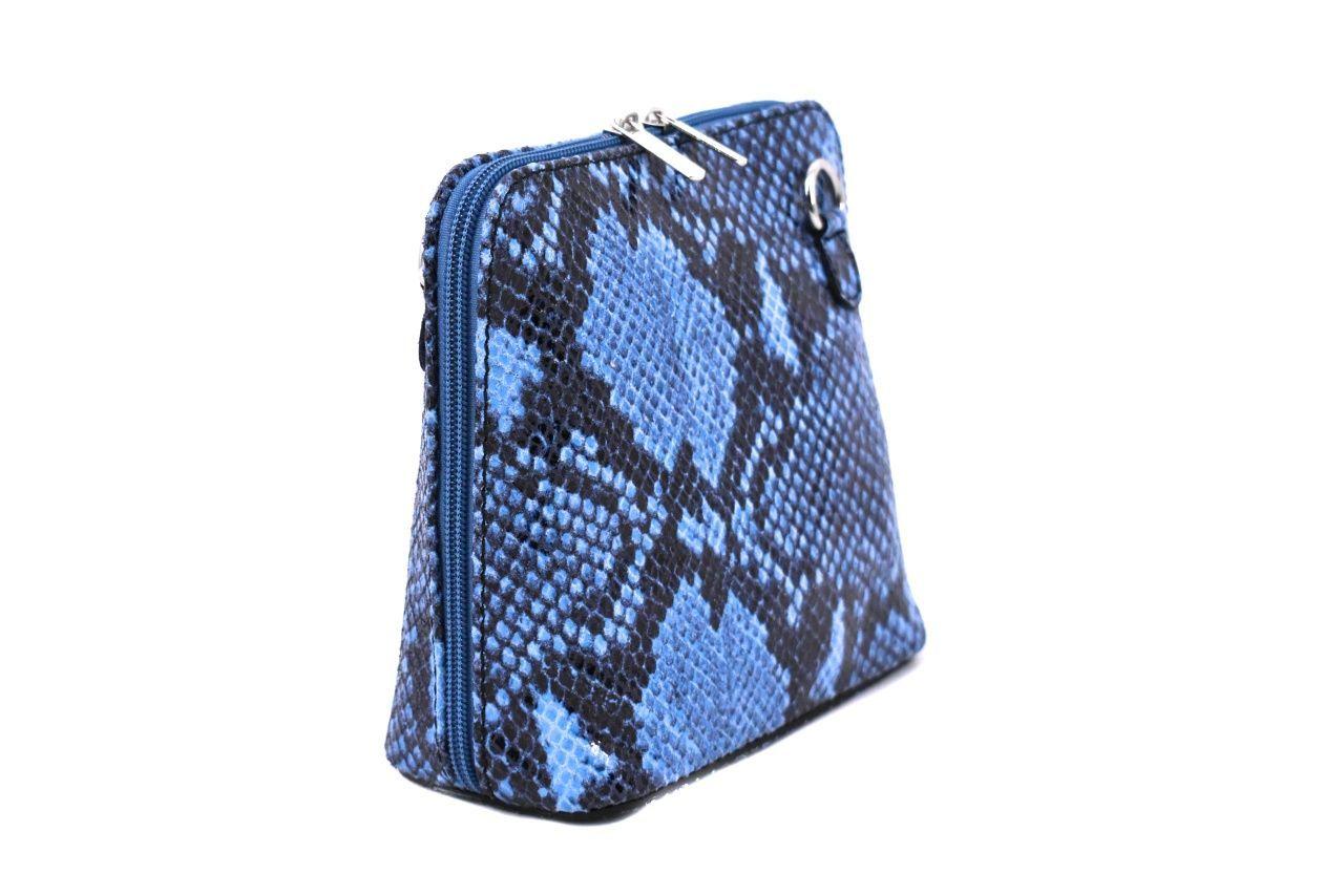 Dámská / dívčí malá kožená kabelka se vzorem hadí kůže Arteddy - modrá 37205