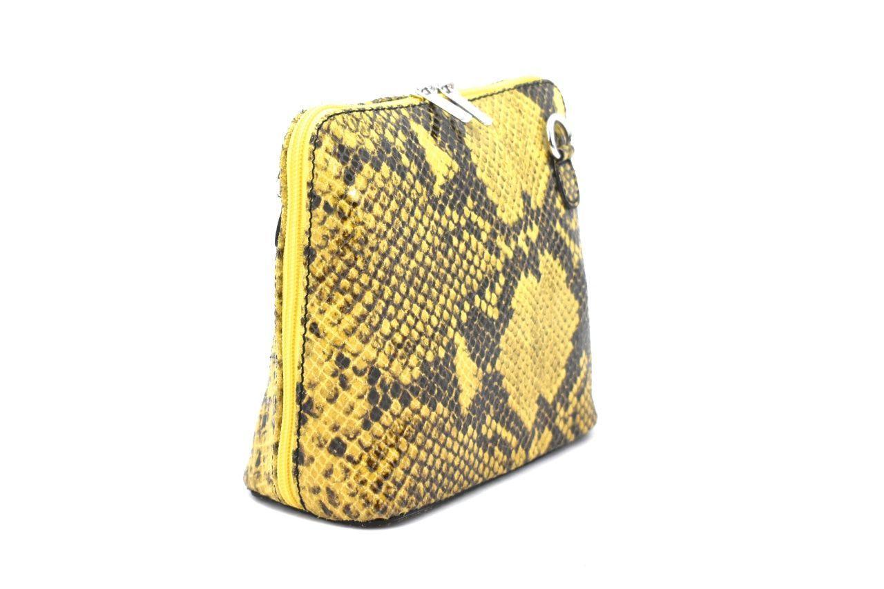 Dámská / dívčí malá kožená kabelka se vzorem hadí kůže Arteddy -žlutá 37205
