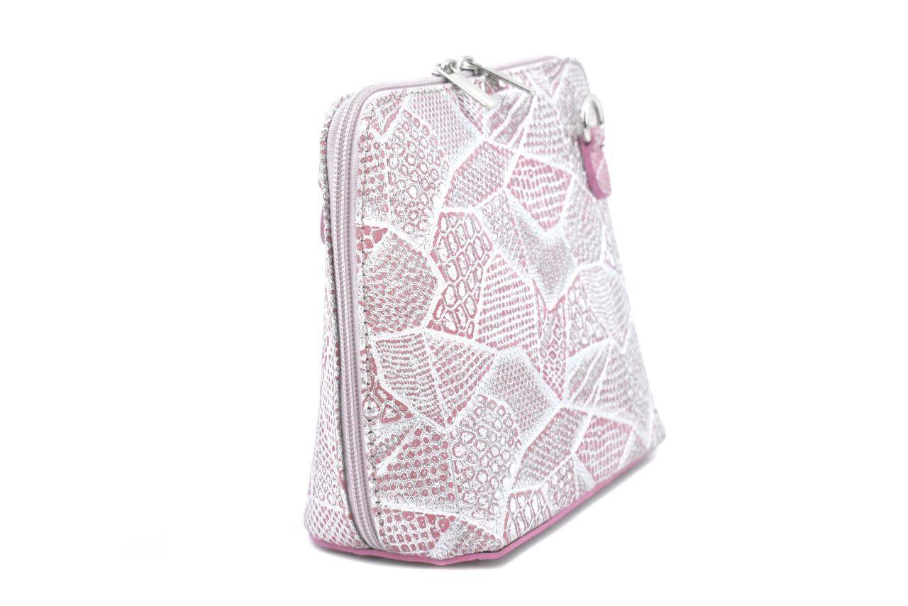 Dámská malá kožená kabelka Arteddy - růžová/stříbrná 37206