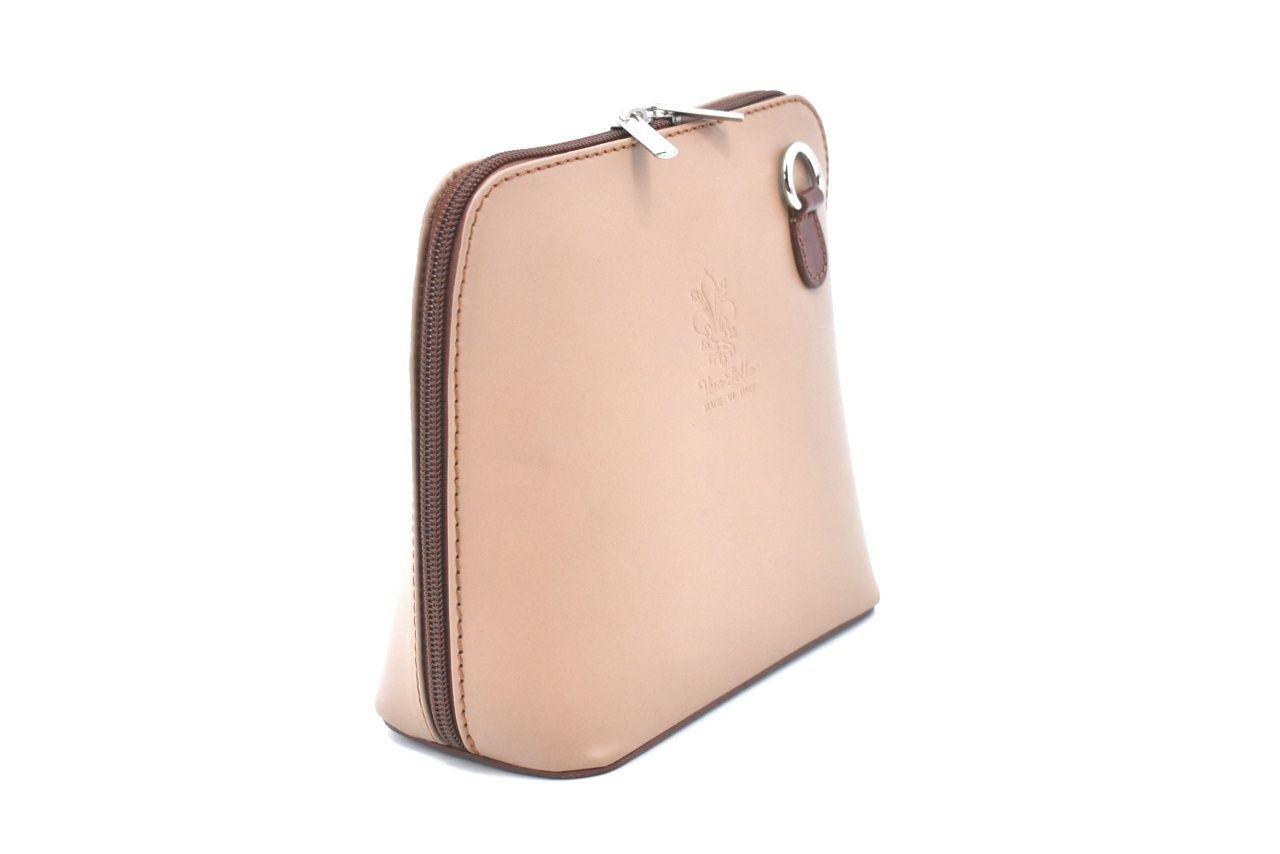 Dámská malá kožená kabelka crossbody Arteddy - béžová/hnědá 36949