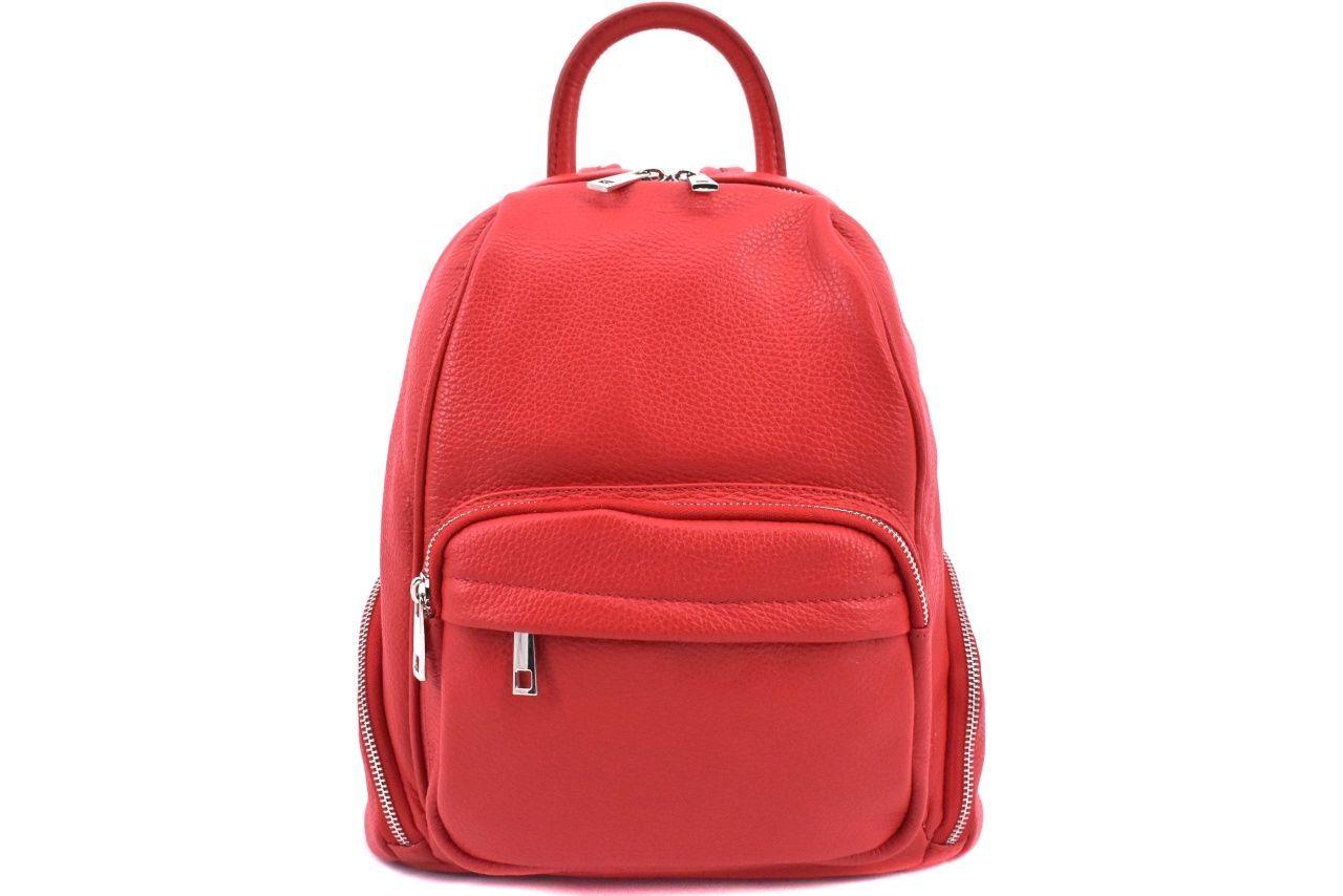 Dámský kožený batoh Arteddy - červená 39991
