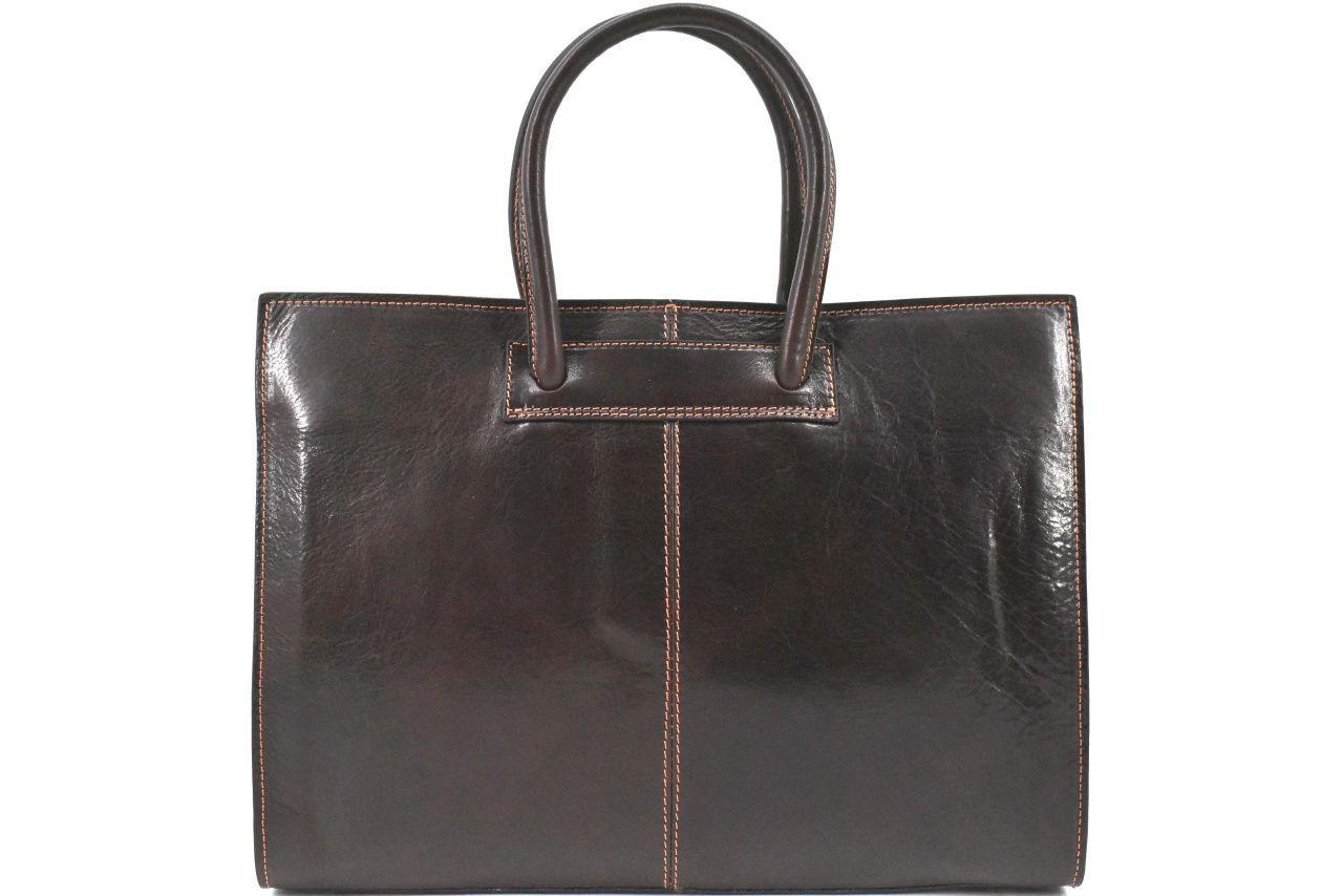 Luxusní dámská kožená kabelka Arteddy - tmavě hnědá 29652