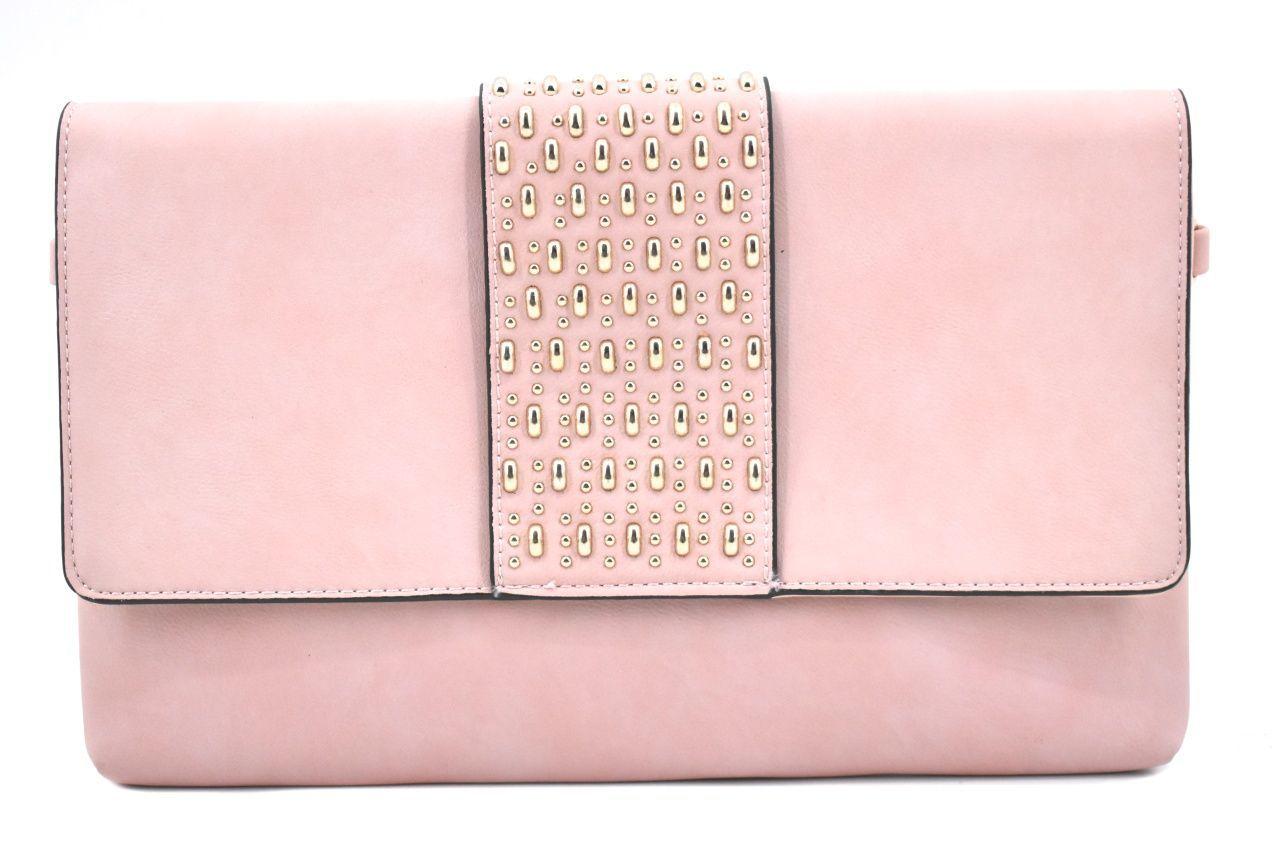 Dámská kabelka psaníčko s klopnou - růžová/pudrová 39133
