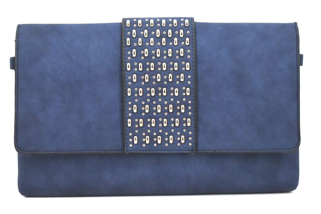 Dámská kabelka psaníčko s klopnou - tmavě modrá 39133