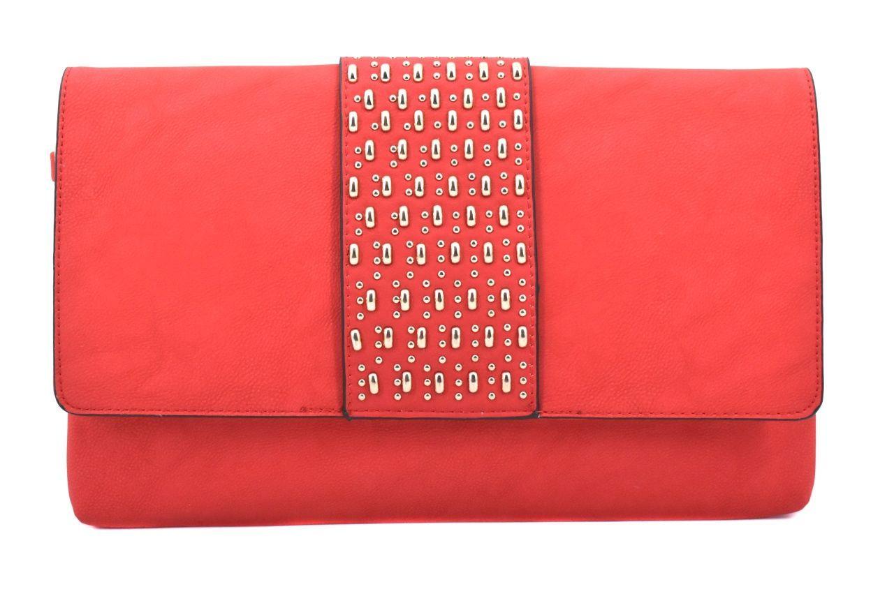 Dámská kabelka psaníčko s klopnou - červená 39133