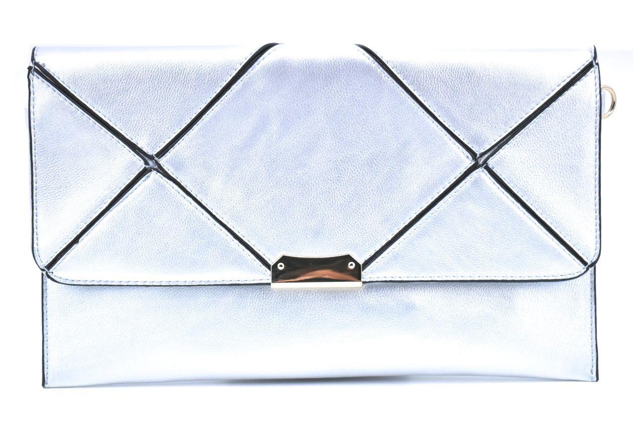 Dámská kabelka psaníčko s klopnou - stříbrná 39132