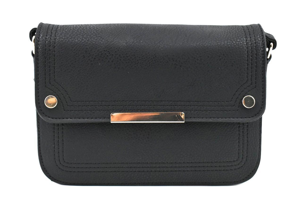 Dámská / dívčí kabelka s klopnou crossbody - černá 37173