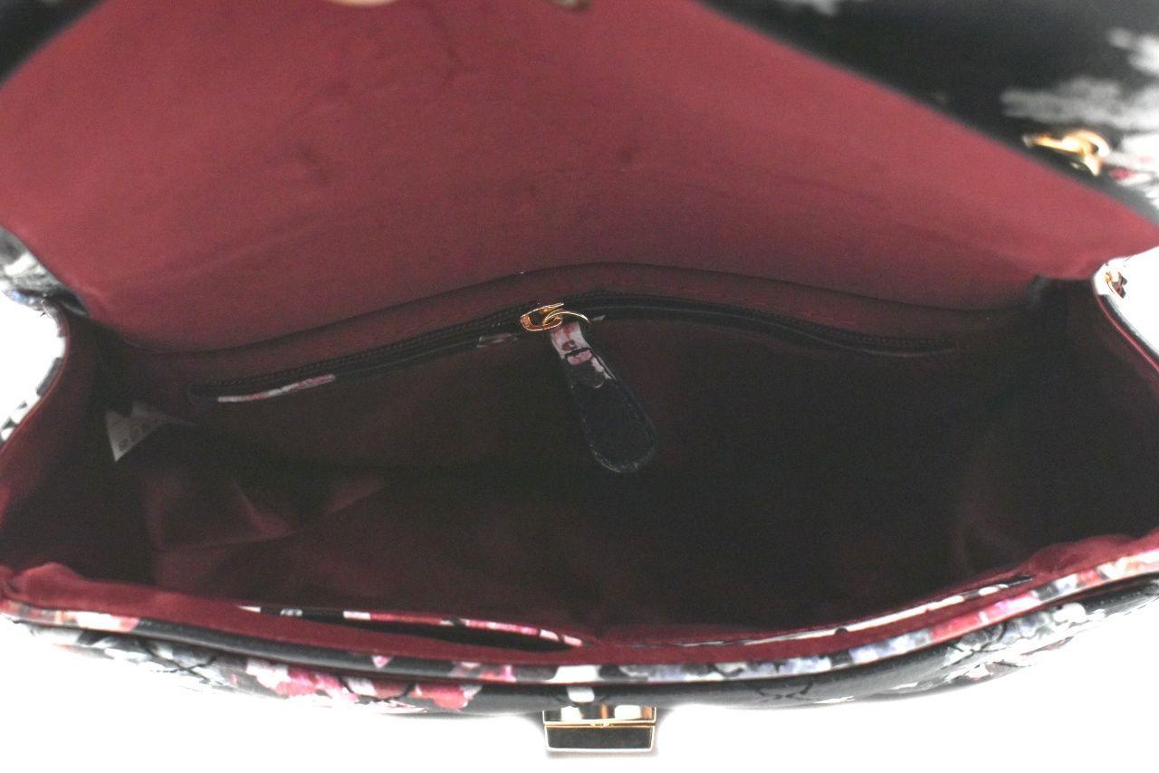 Dámská / dívčí moderní květovaná kabelka s klopnou - černá 39198