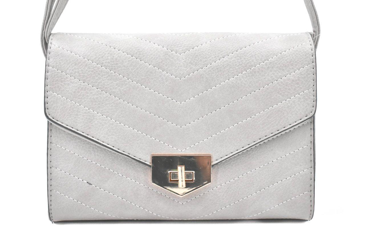 Dámská prošívaná kabelka s klopnou - šedá 39052