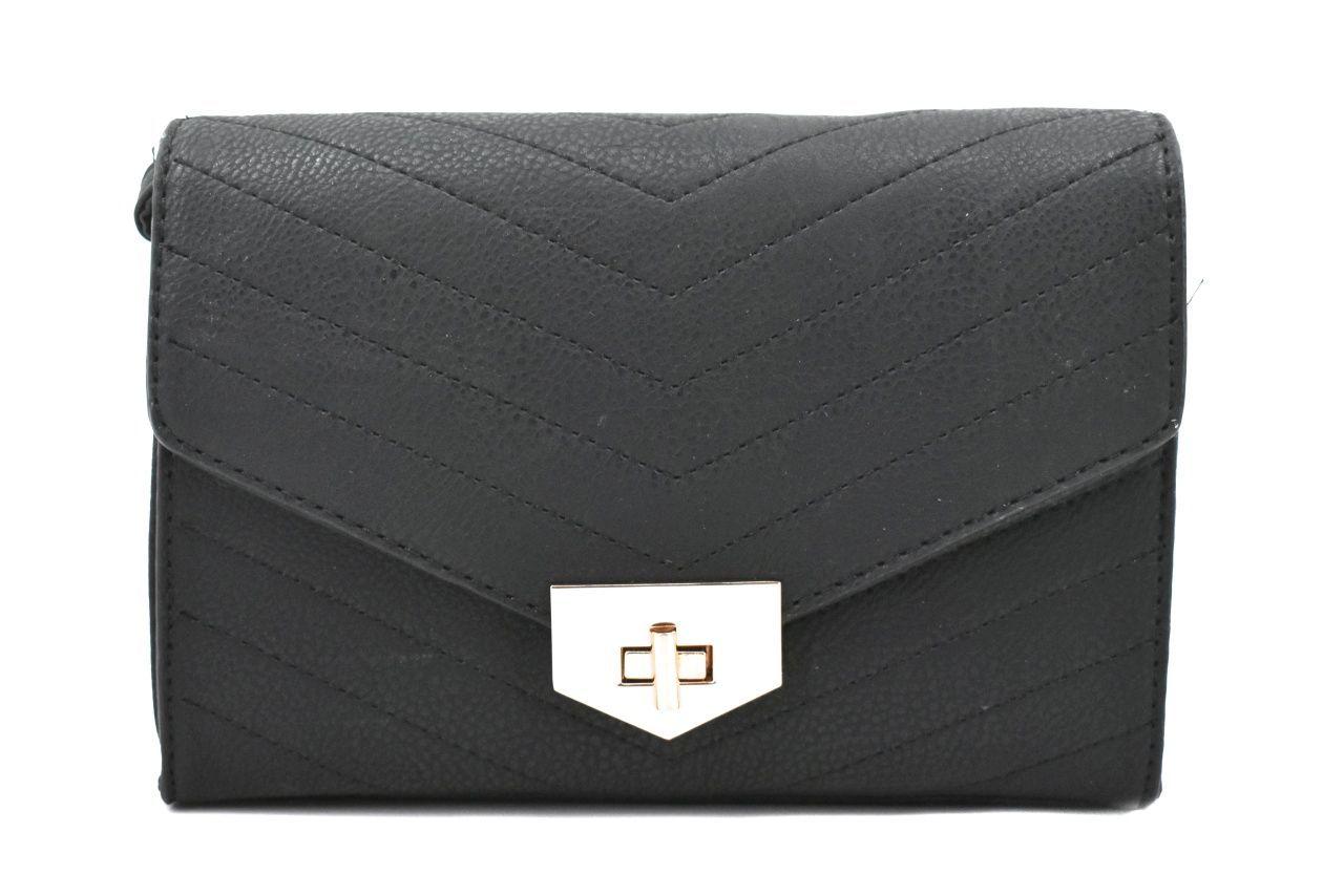 Dámská prošívaná kabelka s klopnou - černá 39052