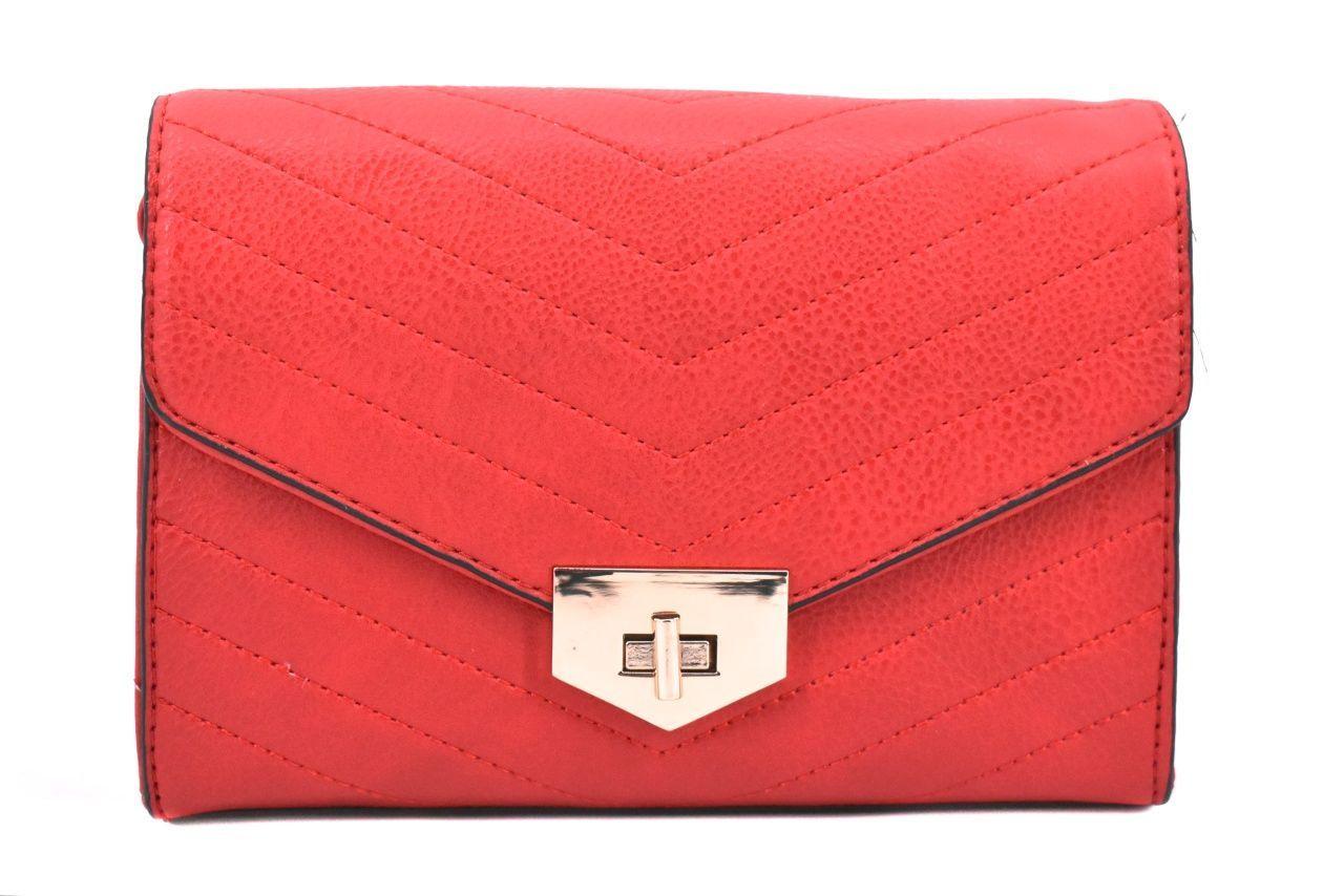 Dámská prošívaná kabelka s klopnou - červená 39052