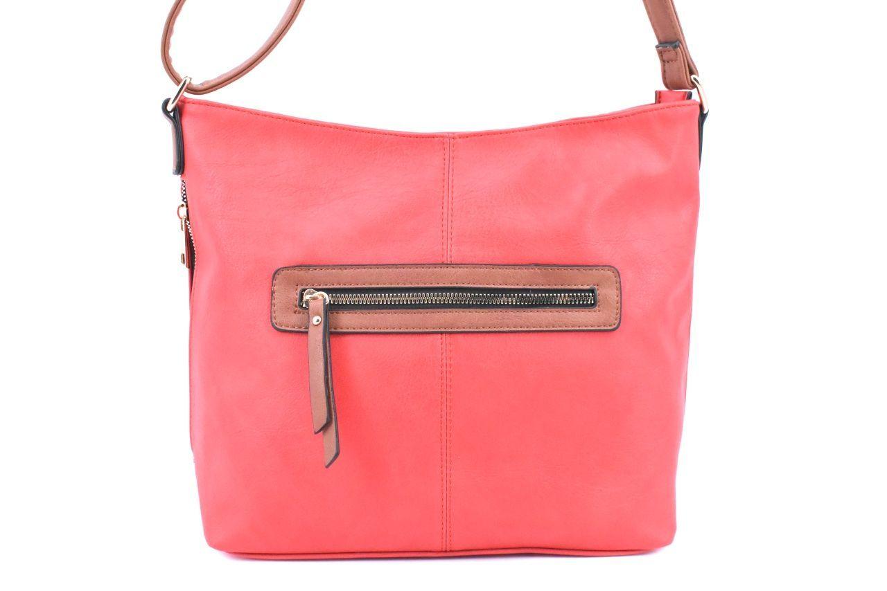 Dámská kabelka crossbody - červená/hnědá 39099