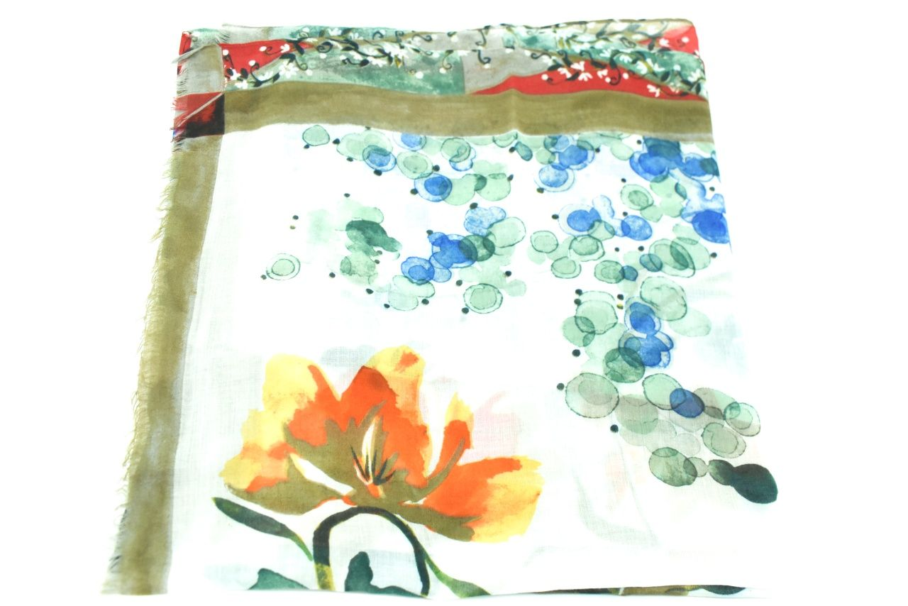 Dámský šátek s květovaným vzorem - zelená