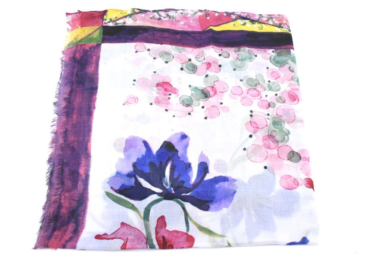 Dámský šátek s květovaným vzorem - fialová