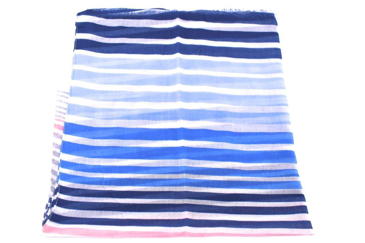 Dámský šátek s pruhovaným vzorem - modrá