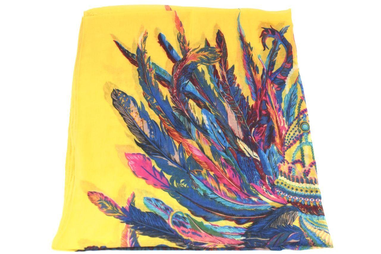 Dámský šátek s potiskem - žlutá
