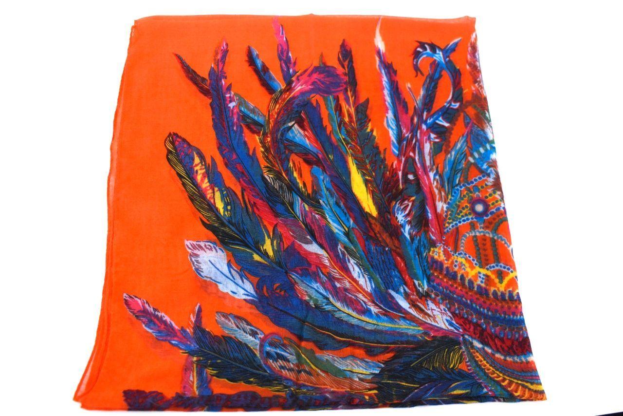 Dámský šátek s potiskem - oranžová
