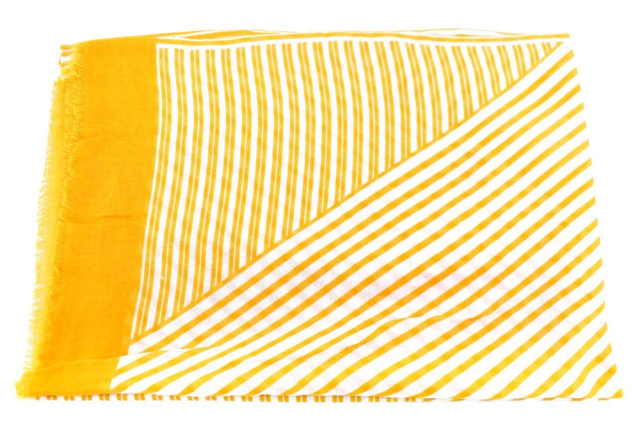 Dámský šátek s pruhovaným vzorem - hořčicová