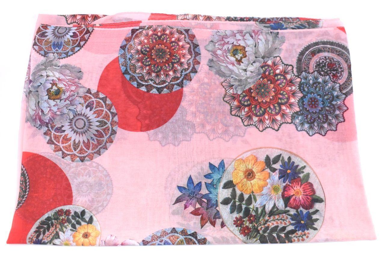 Dámský šátek s potiskem světle růžová