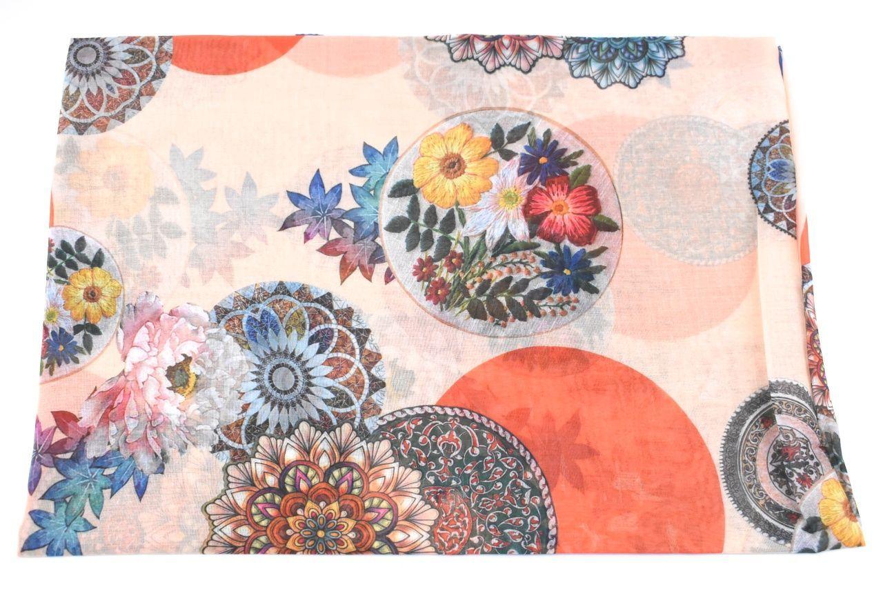 Dámský šátek s potiskem - lososová
