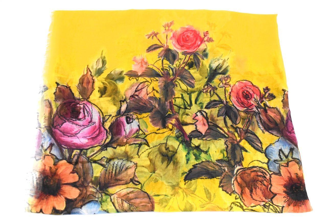 Dámský šátek s květovaným vzorem - hořčicová