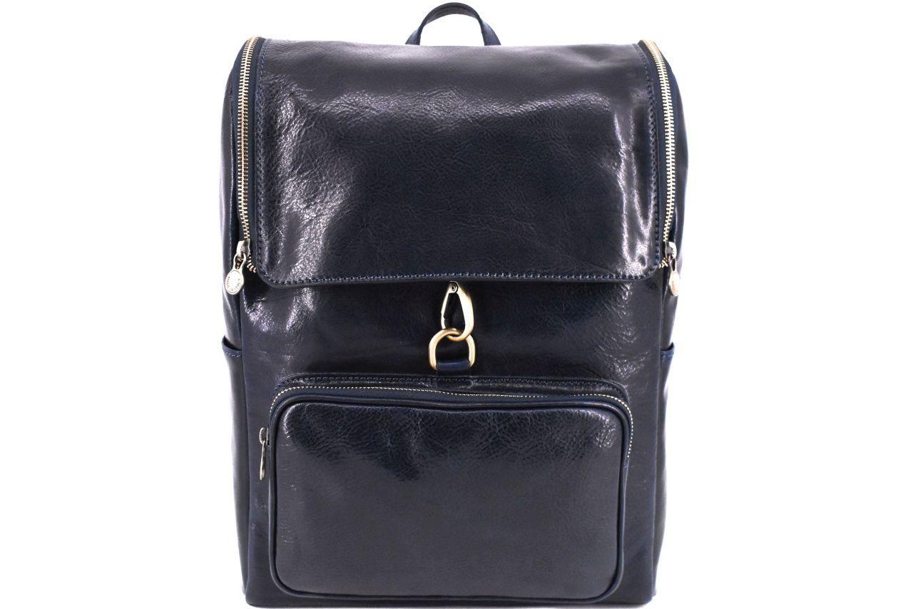 Koženy batoh s klopnou Arteddy - tmavě modrá 39996