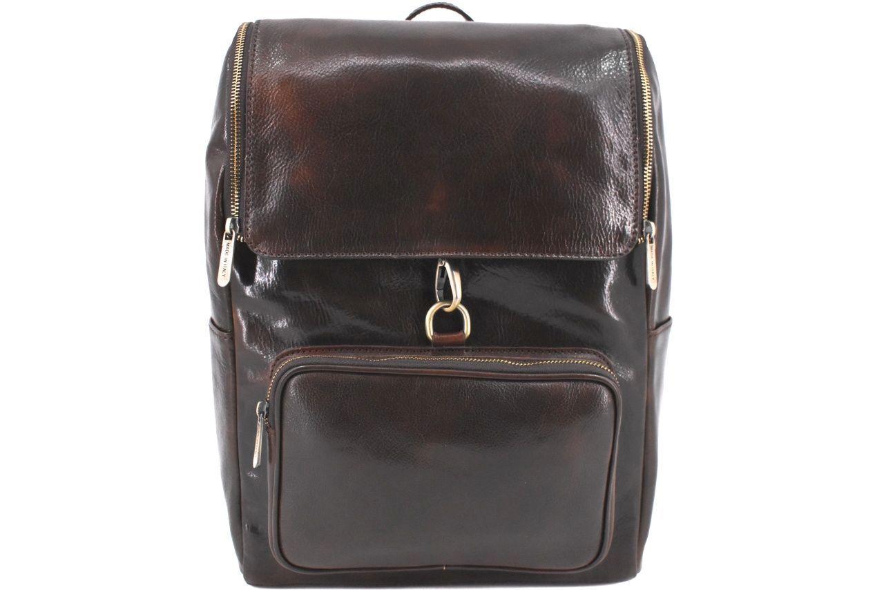 Koženy batoh s klopnou Arteddy - tmavě hnědá 39996