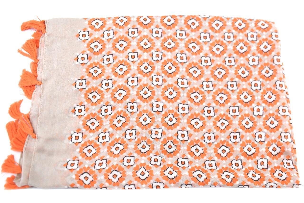 Dámský šátek s třásněmi - oranžová