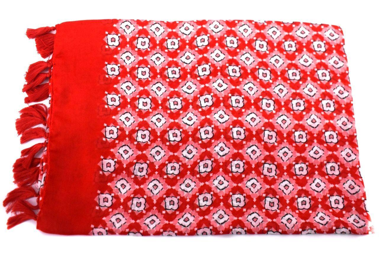 Dámský šátek s třásněmi - červená