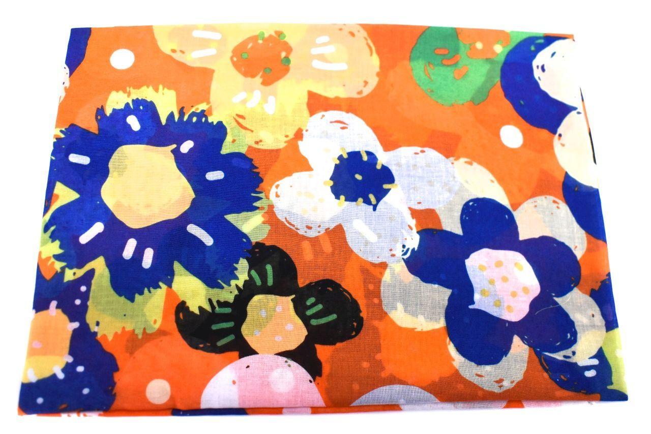 Dámský šátek s květovaným vzorem - oranžová