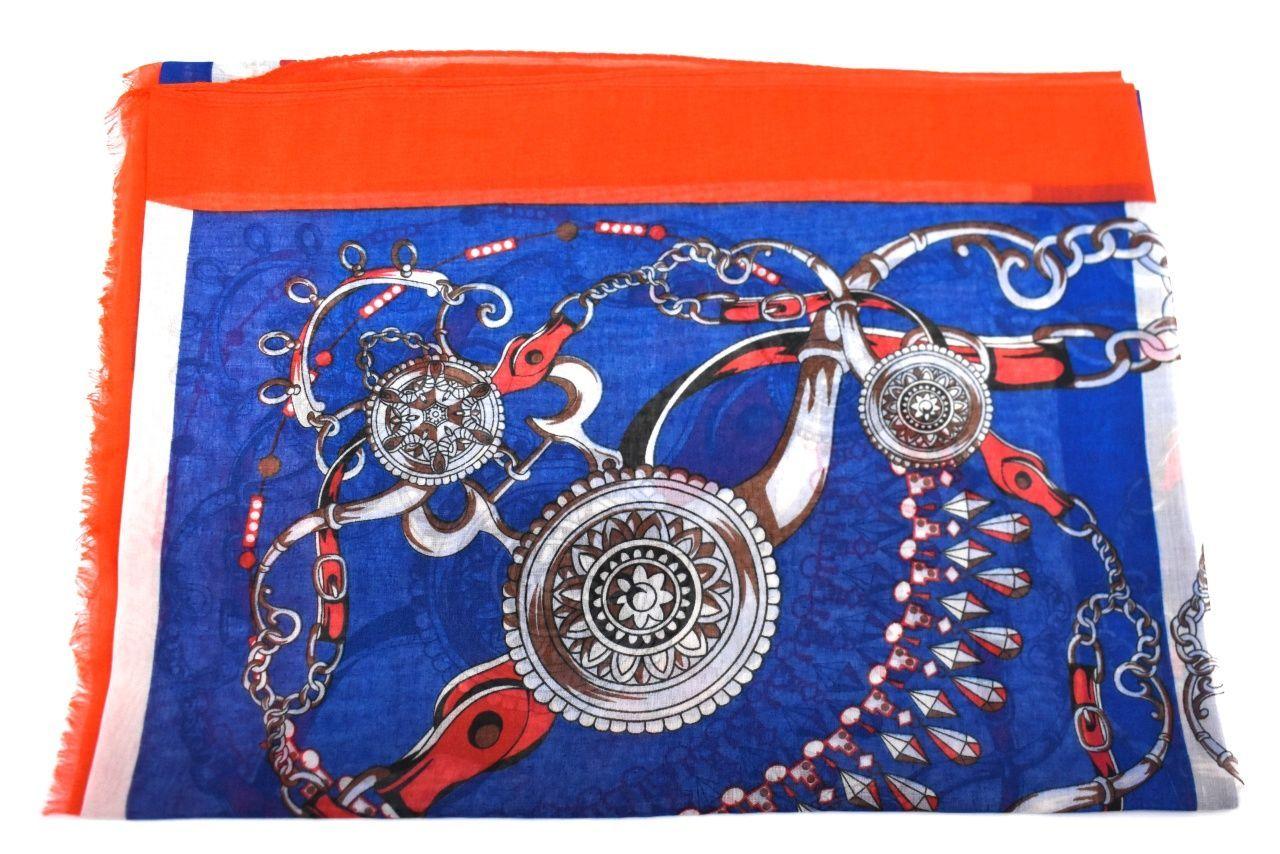 Dámský šátek s potiskem - modrá