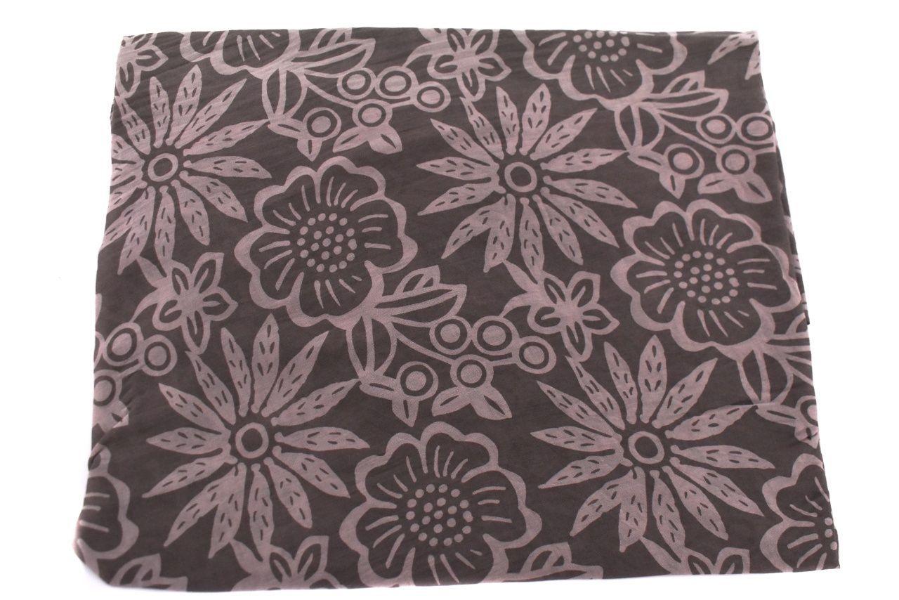 Dámský šátek Made in Italy  s květovaným vzorem - tmavě hnědá