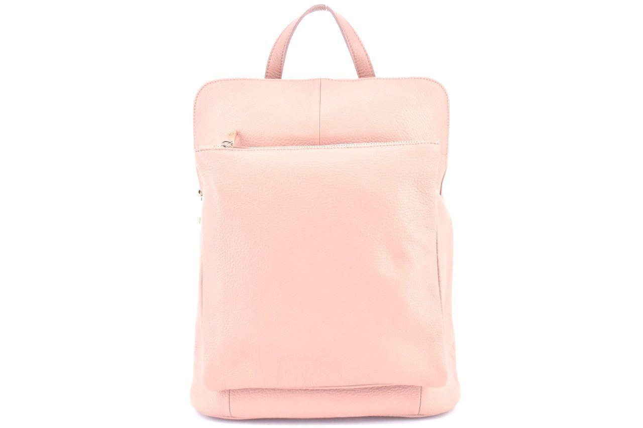 Dámský kožený batoh a kabelka v jednom / Arteddy - světle růžová 36933