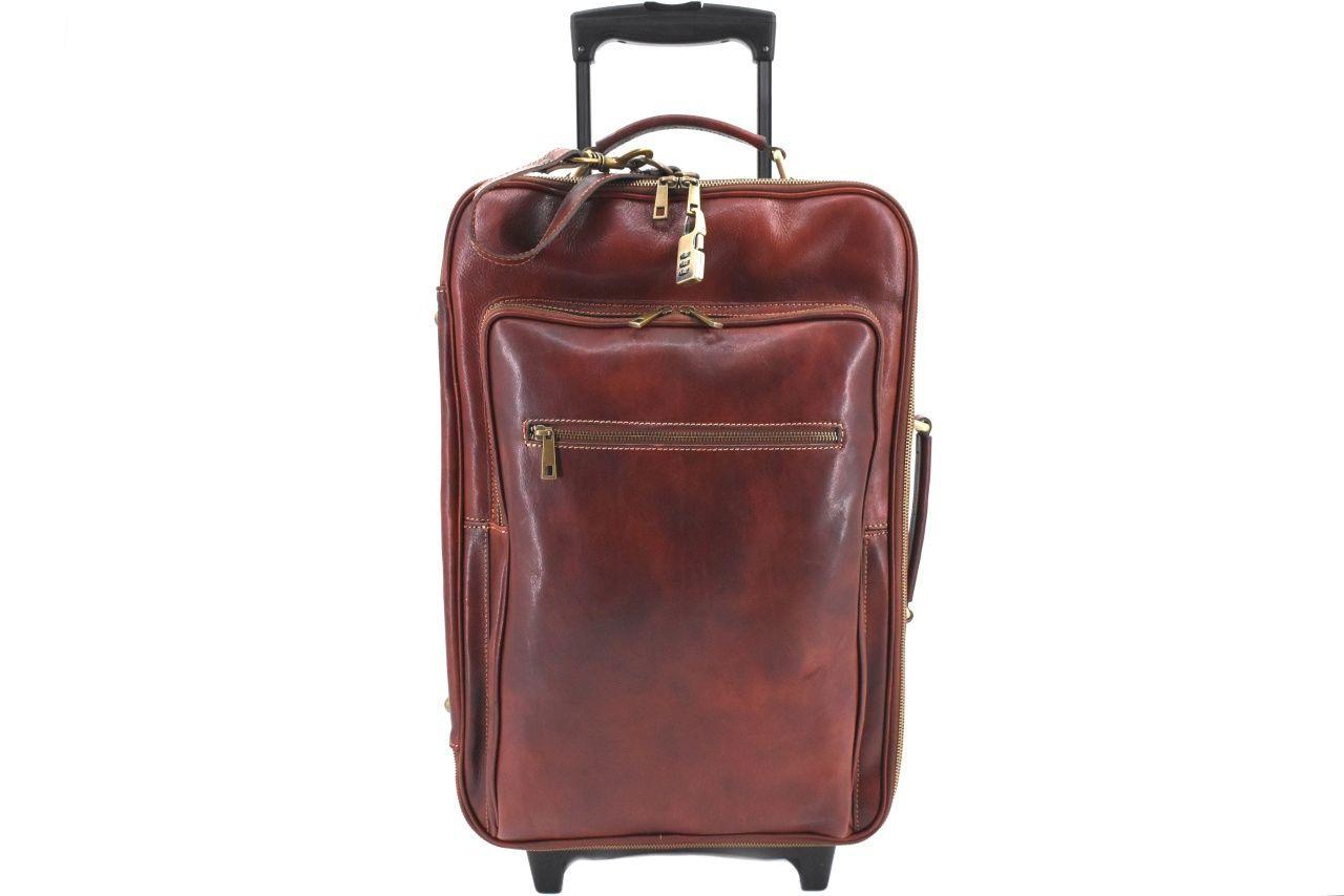 Cestovní palubní kožený kufr Arteddy - hnědá 40l 39988